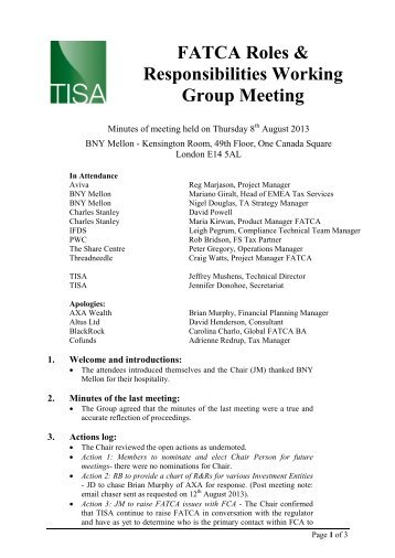FATCA Roles & Responsibilities Working Group Meeting - TISA