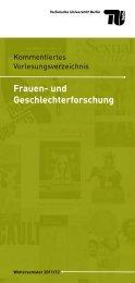 Kommentierte Vorlesungsverzeichnis zur Frauen - TU Berlin