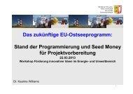 EU-Ostseeprogramm & SEED Money_Dr. Kaarina Williams