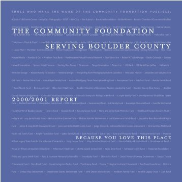 2000 - 2001 - The Community Foundation Serving Boulder County