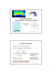 Ionosphere and the magnetosphere-ionosphere coupling Neutral ...