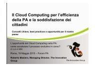 Il Cloud Computing per l'efficienza della PA e la soddisfazione ...