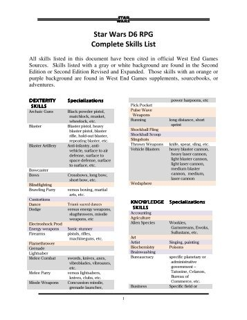 Star Wars D6 RPG Complete Skills List - Speed-Freak