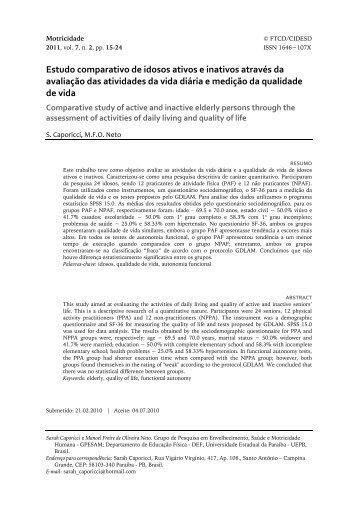 Estudo comparativo de idosos ativos e inativos através da avaliação ...