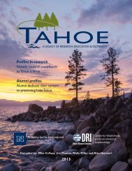 2013 Tahoe Summit Report - College of Agriculture, Biotechnology ...