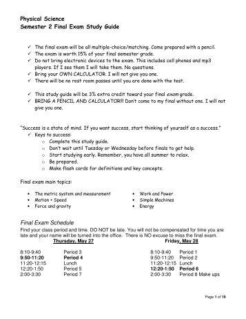 english 3 final exam semester 1 study guide 2011 12 rh yumpu com Biology Final Exam Review Biology Final Exam Review