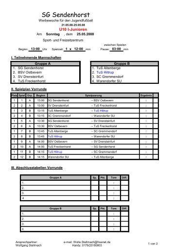 Turnierplan - TuS Hiltrup