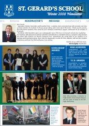 Senior School Christmas Newsletter 2008 - St. Gerard's School