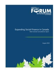 Expanding Social Finance in Canada - Public Policy Forum