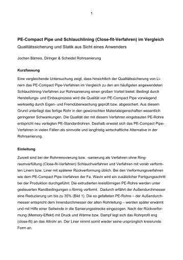 PE-Compact Pipe und Schlauchlining (Close-fit-Verfahren) im ...