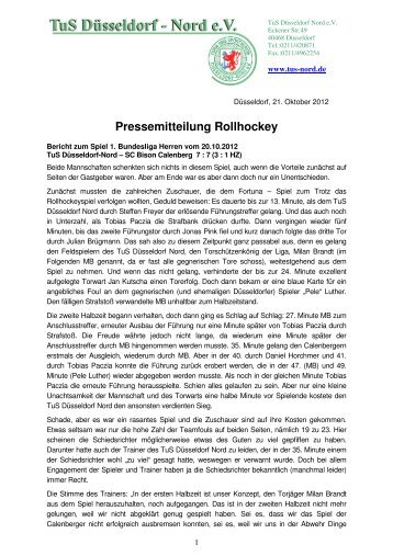 Pressemitteilung Rollhockey - TuS Düsseldorf Nord