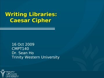 Writing Libraries: Caesar Cipher - seanho