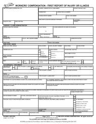 workers' compensation - first report of injury or illness - ACORD Forms
