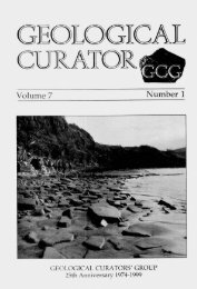 THE GEOLOGICAL CURATOR VOLUME 7, No.1 CONTENTS