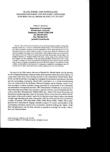 place, power, and paternalism - Mailer Fsu - Florida State University