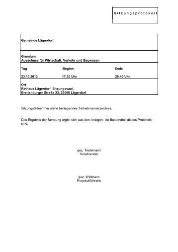 Protokoll Ausschuss für Wirtschaft, Verkehr und ... - Amt Breitenburg