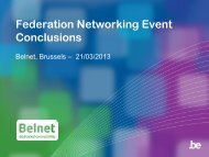 Federation Networking Event Conclusions - Belnet - Events