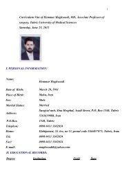 Curriculum Vita of Hemmat Maghsoudi, MD, Associate Professor of ...