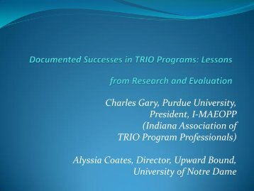 Documented Successes in TRIO Programs - Indiana Pathways to ...