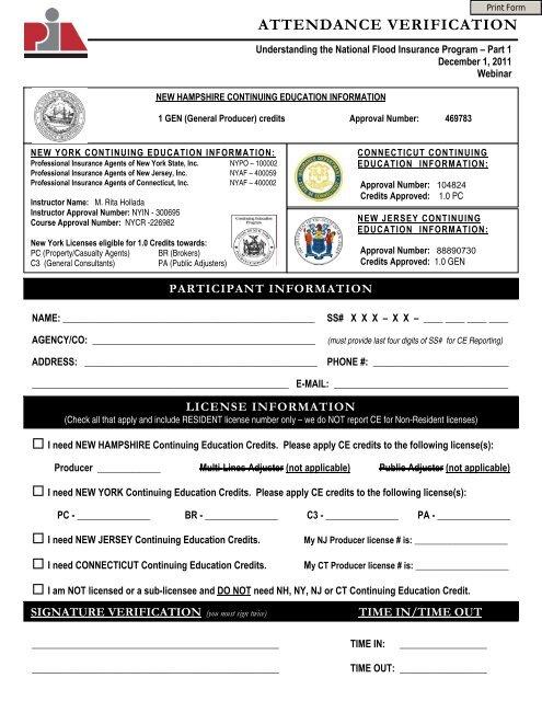 Ce Attendance Verification Form Professional Insurance Agents