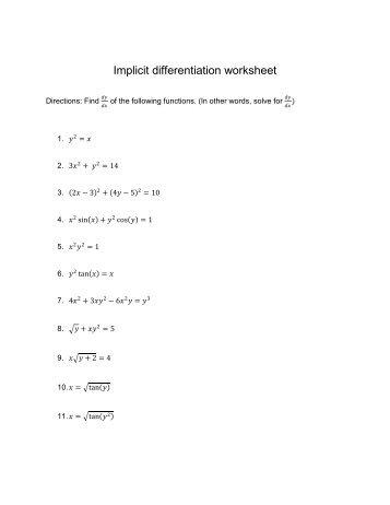 Implicit differentiation worksheet