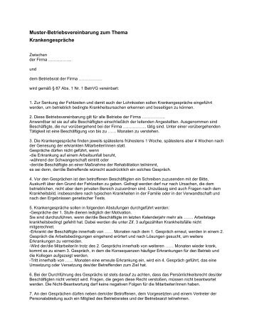 Muster Betriebsvereinbarung Als Pdf Br Wiki