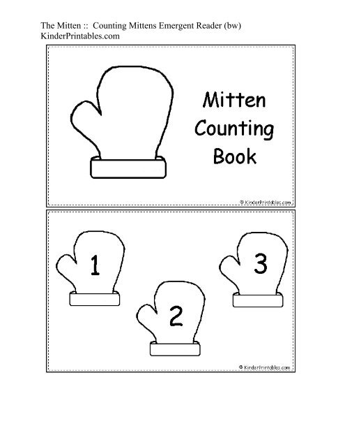 photograph about The Mitten Printable Book called The Mitten :: Counting Mittens Emergent Reader - Kinder