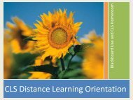CLS Distance Learning Orientation