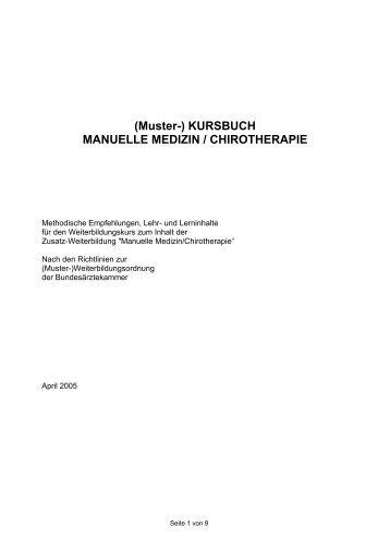 (Muster-) KURSBUCH MANUELLE MEDIZIN / CHIROTHERAPIE