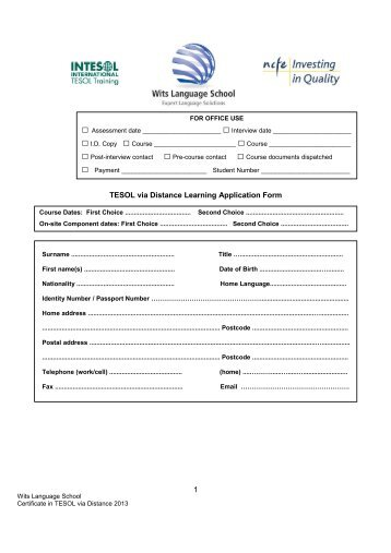 MA by Distance Learning Application Form - London School of ...