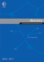 2010-2011 Directory of HIV, Viral Hepatitis - ASHM