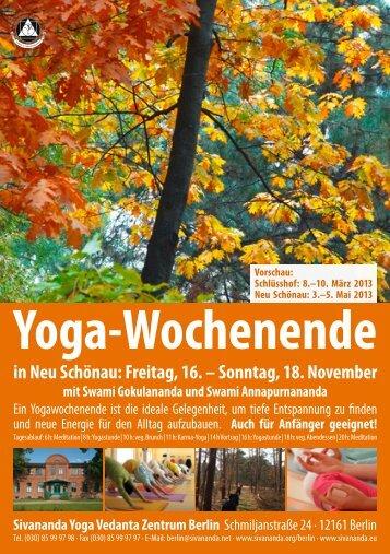 Yoga-Wochenende in Neu Schönau: Freitag, 16. - Sivananda Yoga