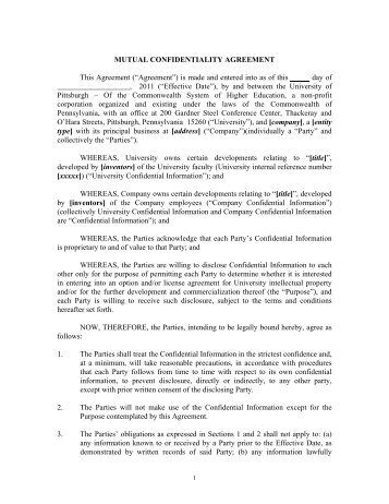 ThreeWay Mutual Confidentiality Agreement  Innovation