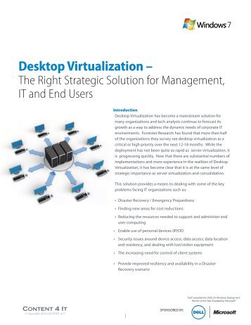 Desktop Virtualization Solution for Management IT ... - Dell Community
