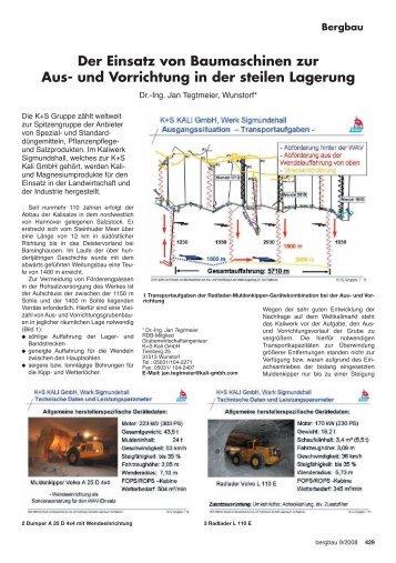 Der Einsatz von Baumaschinen zur Aus- und Vorrichtung ... - RDB eV