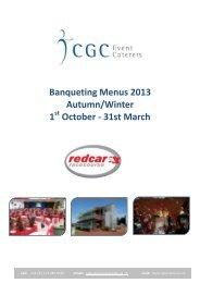 Banqueting Menus 2013 Autumn/Winter 1 October - Redcar ...