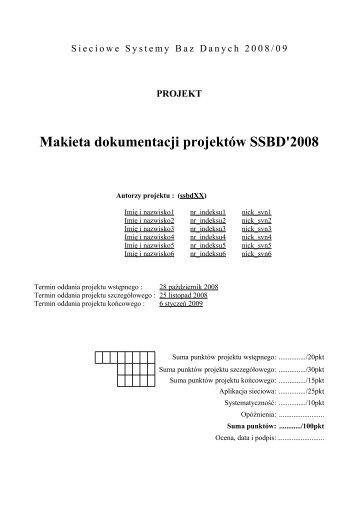 Sieciowe Systemy Baz Danych 2008/09