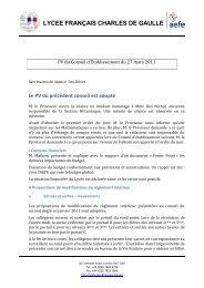 Conseil d'établissement du 27/03/2011 - Lycée français Charles de ...