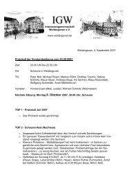 4. September 2007 - Protokoll der Vorstandssitzung - Weldergoven