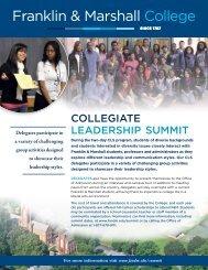 COLLEGIATE LEADERSHIP SUMMIT - Franklin & Marshall College
