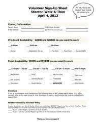 Volunteer Sign-Up Sheet 2012 - Stanton Elementary