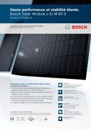 Haute performance et stabilité élevée. Bosch Solar Module c-Si M ...