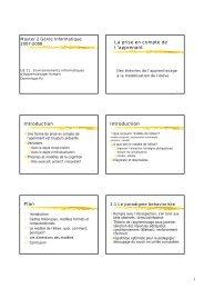 La prise en compte de l 'apprenant Introduction Introduction Plan