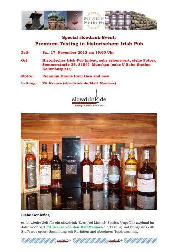 Premium-Tasting in historischem Irish Pub - Slowdrink.de