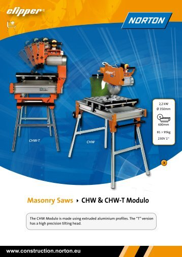Masonry Saws CHW & CHW-T Modulo - Norton Construction Products