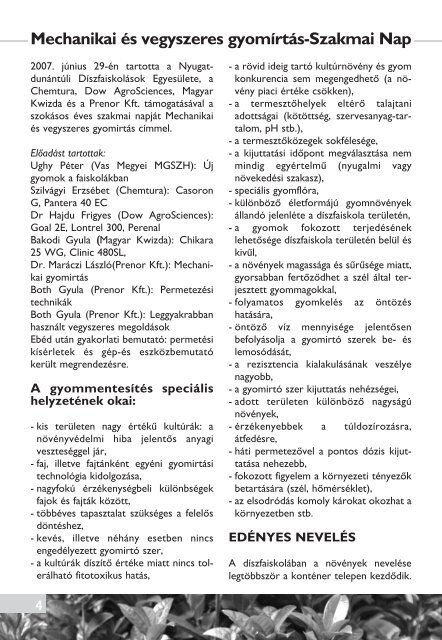 V and T napta´r szerel - Nyugat-Dunántúli Díszfaiskolások Egyesülete