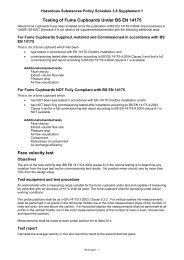 Additional test for fume cupboards under BS EN 14175 (PDF 67KB)