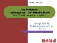 Das Patientenrechtegesetz – Der aktuelle Stand - Medizinrechts ...