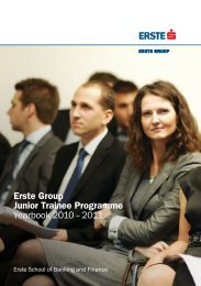Erste Group Junior Trainee Programme Yearbook 2010 – 2011