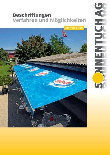 Beschriftungen Prospekt - Sonnentuch AG